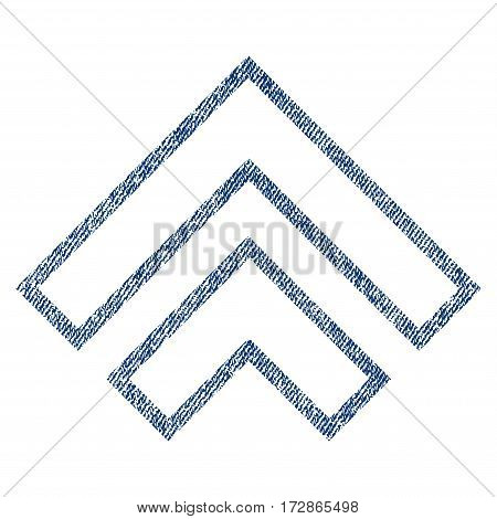 Direction Up vector textured icon for overlay watermark stamps. Blue jeans fabric vectorized texture. Symbol with scratched design. Blue ink rubber seal stamp with fiber textile structure.