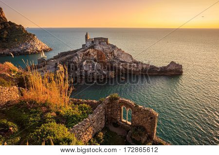 View of the church of Portovenere, in Italy.