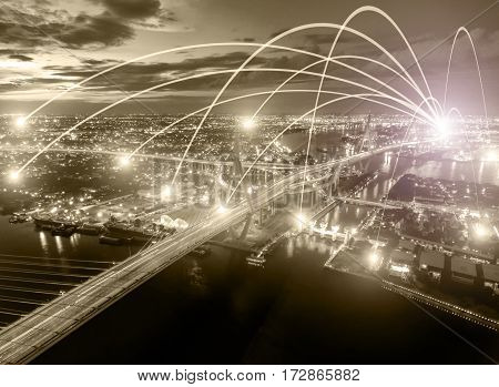 Business networking connection concept and Wi-Fi in city.Technology communication.Background blur building in the capital.