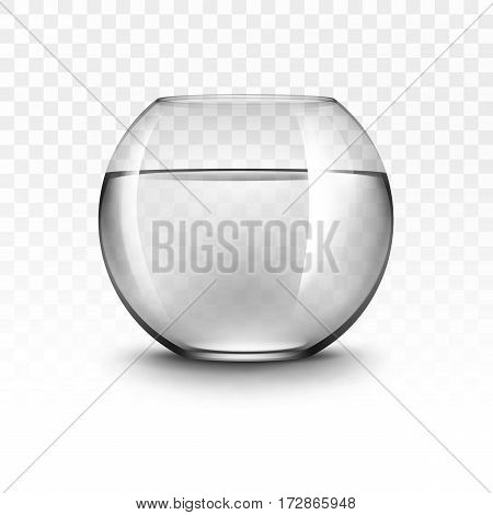 Vector Realistic Black Transparent Shiny Glass Fishbowl Aquarium with Water without Fish Isolated on White Background