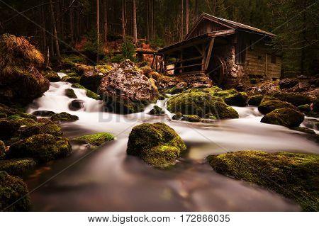 old mill near Gollinger Waterfall in the Austrian Alps
