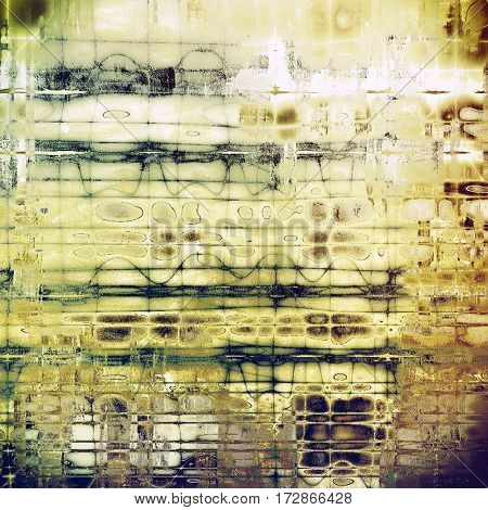 Oldest vintage background in grunge style. Ancient texture with different color patterns: yellow (beige); brown; gray; green; white