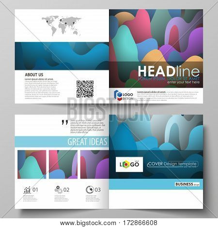 Business templates for square design bi fold brochure, magazine, flyer, booklet or annual report. Leaflet cover, abstract flat layout, easy editable vector. Bright color pattern, colorful design with overlapping shapes forming abstract beautiful backgroun