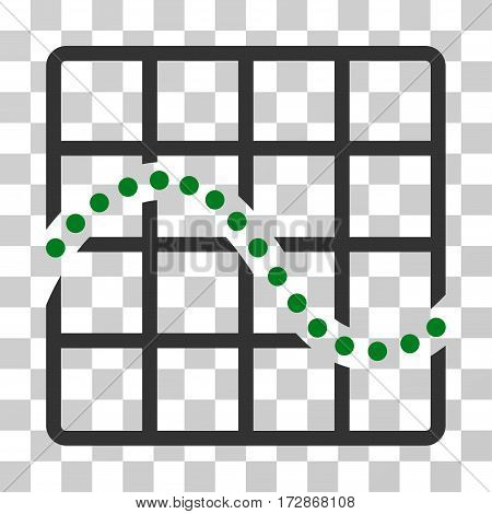 Function Chart vector pictogram. Illustration style is flat iconic bicolor green and gray symbol on a transparent background.