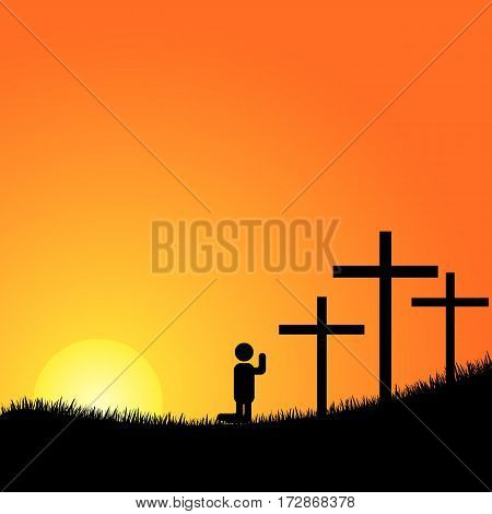 Crucifixion. Silhouettes of the three crosses and praying man.