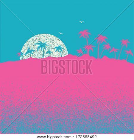 Sunset On Tropical Palm Island.vector Nature Landscape Illustration