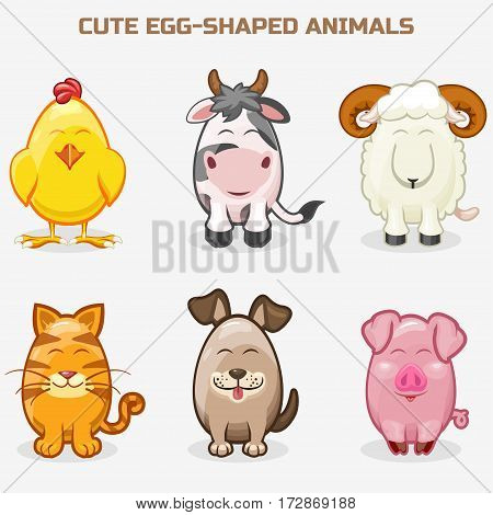 cartoon cute pets animals in one set, simple egg-shaped