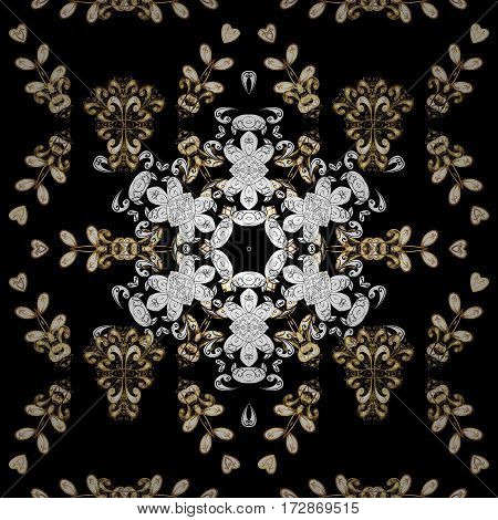 Traditional orient ornament with white doodles. Classic vintage background. Seamless classic vector black and golden pattern.