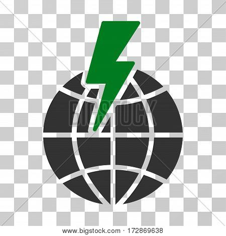 Global Shock vector pictogram. Illustration style is flat iconic bicolor green and gray symbol on a transparent background.