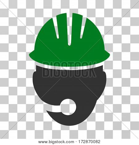 Industrial Operator vector icon. Illustration style is flat iconic bicolor green and gray symbol on a transparent background.