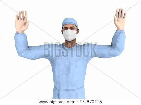 3D Rendering Male Doctor On White