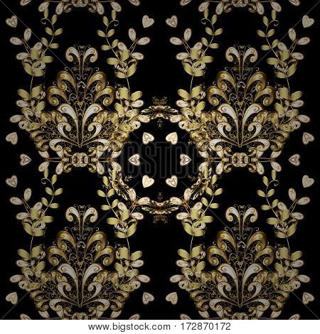 Damask seamless pattern repeating background. Antique golden repeatable sketch. Golden element on black background. Golden floral ornament in baroque style.