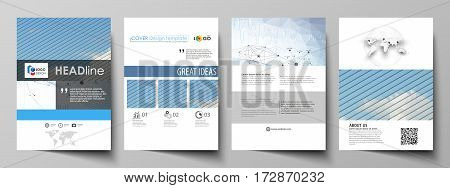 Business templates for brochure, magazine, flyer, booklet or annual report. Cover design template, easy editable vector, abstract flat layout in A4 size. Blue color abstract infographic background in minimalist style made from lines, symbols, charts, diag