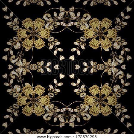 Black background with golden elements. Vector golden floral ornament brocade textile and glass pattern. Seamless golden pattern. Gold metal with floral pattern.