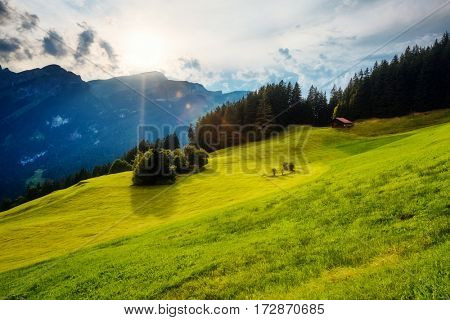 Fantastic views of the magical place in sunlight. Picturesque and gorgeous morning scene. Location place Swiss alp, Lauterbrunnen valley, Bernese Oberland, Europe. Discover the world of beauty.