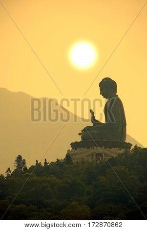 Tian Tan Buddha or Giant Buddha statue at Po Lin Monastery Ngong Ping, Lantau Island, Hong Kong, China