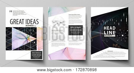 Business templates for brochure, magazine, flyer, booklet or annual report. Cover design template, easy editable vector, abstract flat layout in A4 size. Colorful abstract infographic background in minimalist style made from lines, symbols, charts, diagra