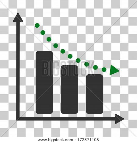 Negative Trend vector pictograph. Illustration style is flat iconic bicolor green and gray symbol on a transparent background.