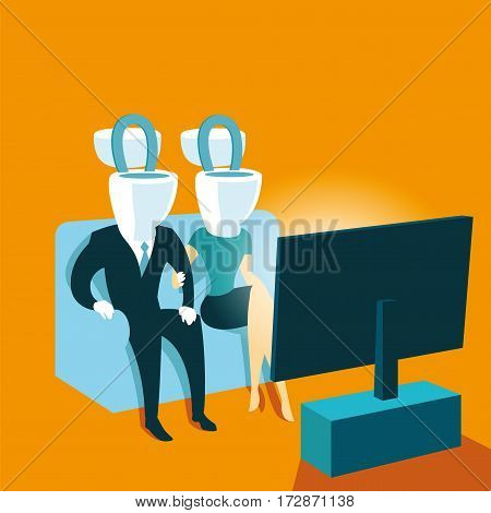 Cesspool media propaganda toilet dirt everyman. Vector illustration