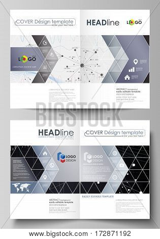 Business templates for bi fold brochure, magazine, flyer, booklet or annual report. Cover design template, easy editable vector, abstract flat layout in A4 size. Abstract infographic background in minimalist style made from lines, symbols, charts, diagram