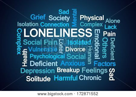 Loneliness Word Cloud on Blue Background