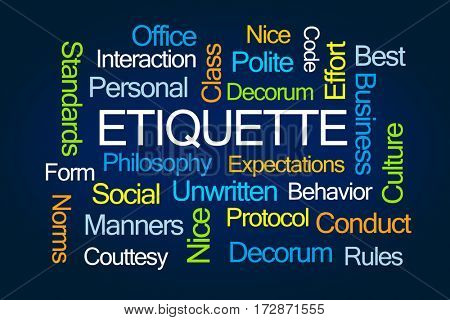 Etiquette Word Cloud on Blue Background