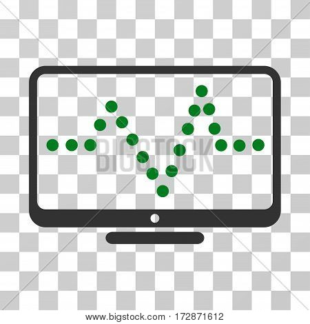 Pulse Chart vector pictograph. Illustration style is flat iconic bicolor green and gray symbol on a transparent background.