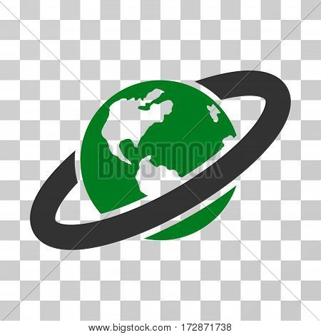 Ringed Planet vector pictogram. Illustration style is flat iconic bicolor green and gray symbol on a transparent background.