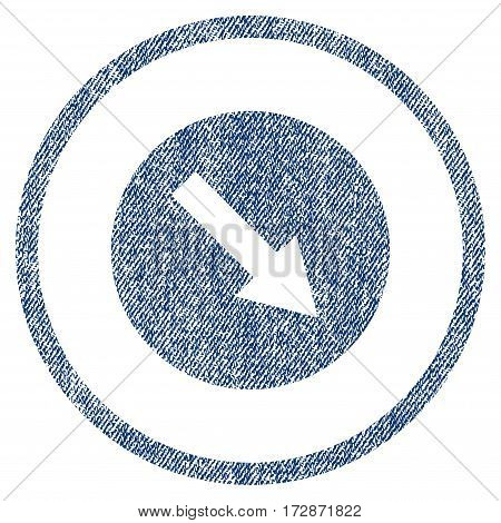 Down-Right Rounded Arrow vector textured icon for overlay watermark stamps. Blue jeans fabric vectorized texture. Symbol with dust design. Blue ink rubber seal stamp with fiber textile structure.