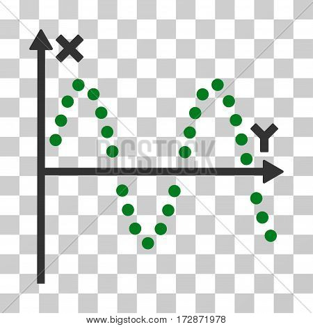 Sine Plot vector pictogram. Illustration style is flat iconic bicolor green and gray symbol on a transparent background.