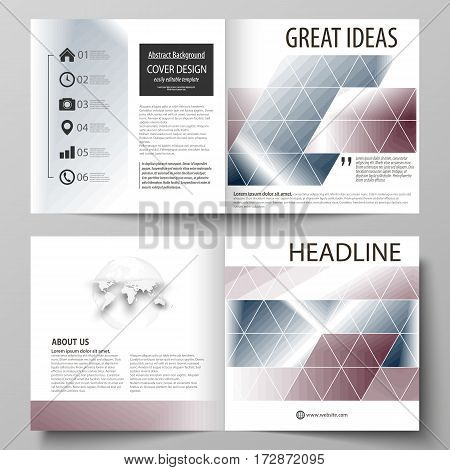 Business templates for square design bi fold brochure, magazine, flyer, booklet or annual report. Leaflet cover, abstract flat layout, easy editable vector. Simple monochrome geometric pattern. Abstract polygonal style, stylish modern background.
