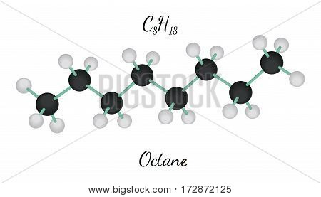 C8H18 octane 3d molecule isolated on white