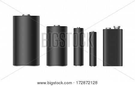 Vector Set of Black Matt Alkaline Batteries Of Diffrent size AAA, AA, C, D, PP3 for branding Close up Isolated on White background
