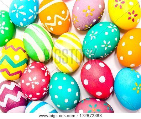 Perfect colorful handmade easter eggs green orange yellow