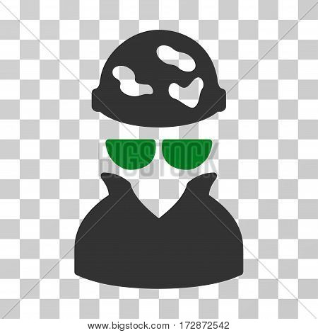Spotted Spy vector icon. Illustration style is flat iconic bicolor green and gray symbol on a transparent background.
