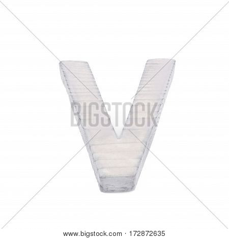 Single sawn wooden letter V symbol coated with paint isolated over the white background