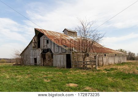 Barn in the midwest used to store hay in and other farm items