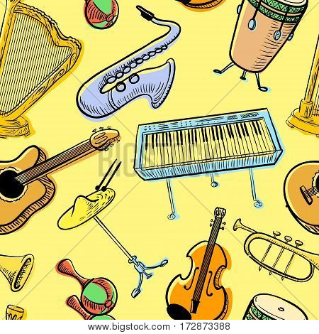Musical instruments doodle vecto rseamless pattern. Cute line art simply illustration with harp saxophone trumpet piano percussion violin. Music background