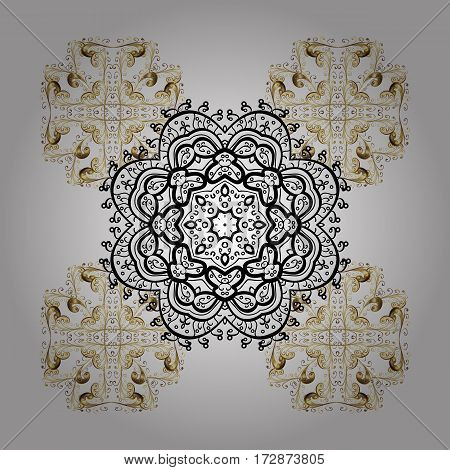 Golden elements. Vector winter pattern. Abstract with Floral Elements. Snowflakes design on white background in white colors.