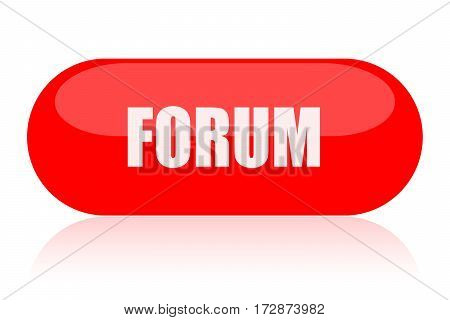 Forum red glossy button isolated on white background