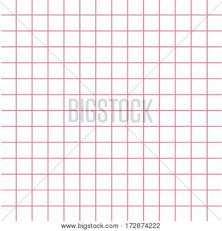 Notebook paper texture pink cell template. Squared blank sheet of copybook background. Flat design. Vector illustration