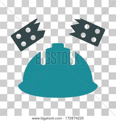 Brick Helmet Accident vector pictogram. Illustration style is flat iconic bicolor soft blue symbol on a transparent background.