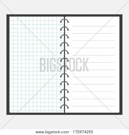 Open notebook with spiral and blank line cell paper. Lined page template. Squared blank sheet of copybook. Flat design. Isolated. Vector illustration.