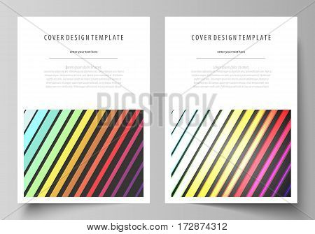Business templates for brochure, magazine, flyer, booklet or annual report. Cover design template, easy editable vector, abstract flat layout in A4 size. Bright color rectangles, colorful design with geometric rectangular shapes forming abstract beautiful