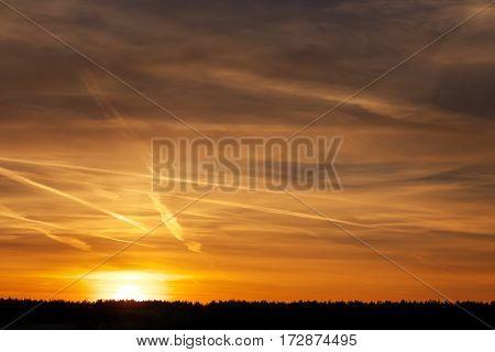 Beautiful orange sky during sunset or sunrise.