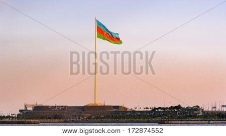 National Flag Square In Baku On Sunset
