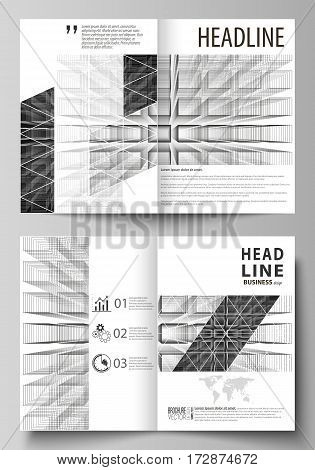 Business templates for bi fold brochure, magazine, flyer, booklet or annual report. Cover design template, easy editable vector, abstract flat layout in A4 size. Abstract infinity background, 3d structure with rectangles forming illusion of depth and pers