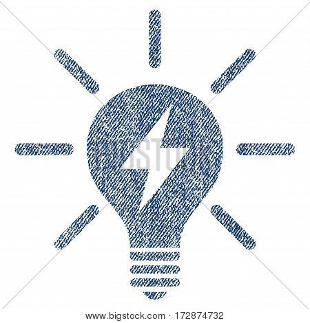 Electric Light Bulb vector textured icon for overlay watermark stamps. Blue jeans fabric vectorized texture. Symbol with unclean design. Blue ink rubber seal stamp with fiber textile structure.