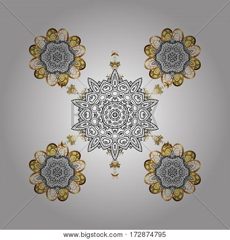 Abstract with Floral Elements. Vector winter pattern. Snowflakes design on white background in white and light colors. Golden elements.