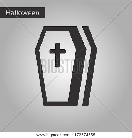 black and white style icon of halloween coffin